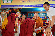Each of the nuns receiving their Geshe-mas degrees from His Holiness the Dalai Lama at Drepung Lachi in Mundgod, Karnataka, India on December 22, 2016
