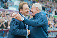 Hull City manager Leonid Slutsky is greeted by Aston Villa manager Steve Bruce prior to the Sky Bet Championship match at Villa Park, Birmingham<br /> Picture by Matt Wilkinson/Focus Images Ltd 07814 960751<br /> 05/08/2017