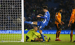 Lewis Dunk ( 2nd L ) of Brighton and Hove Albion reacts after he has his shot on goal saved by Carl Ikeme ( L ) of Wolverhampton Wanderers - Mandatory byline: Paul Terry/JMP - 07966 386802 - 01/01/2016 - FOOTBALL - Falmer Stadium - Brighton, England - Brighton v Wolves - Sky Bet Championship