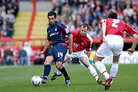 Photo: Leigh Quinnell.<br /> Bristol City v Nottingham Forest. Coca Cola League 1. 31/03/2007. Forests Jack Lester plays the ball away from Bristol Citys Louis Carey.