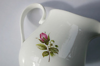 Antique Irish china milk jug with pink rose motif<br />