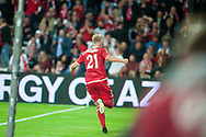 01.09.2017. Copenhagen, Denmark. <br /> Andreas Cornelius (21) of Denmark celebrates scoring the second goal during the FIFA 2018 World Cup Qualifier between Denmark and Poland at Parken Stadion.<br /> Photo: © Ricardo Ramirez.