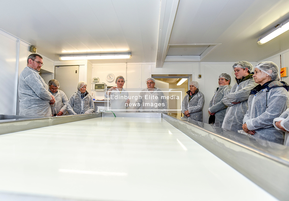 Selina Cairns, director of Errington Cheese, shows members of the public the cheesemaking process during the company's public open day, which marked the reopening of the business following an outbreak of E.coli 0157 2 and a half years ago in which a three year old girl died.<br /> <br /> © Dave Johnston / EEm