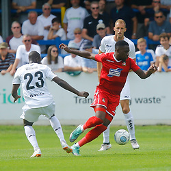 Wrexhams forward Mike Fondop turns on the ball during the opening National League match between Dover Athletic and Wrexham FC at Crabble Stadium, Kent on 04 August 2018. Photo by Matt Bristow.