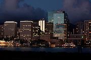 Honolulu harbor and skyline - night