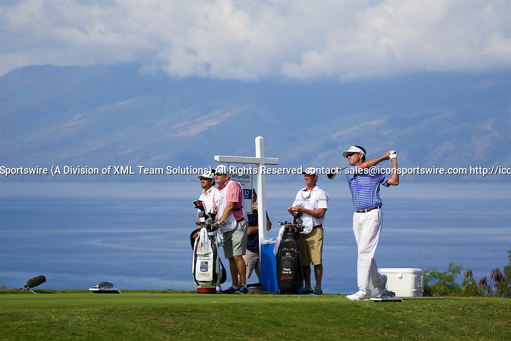 January 08 2016: Davis Love III tees off on number five during the Second Round of the Hyundai Tournament of Champions at Kapalua Plantation Course on Maui, HI. (Photo by Aric Becker/Icon Sportswire)