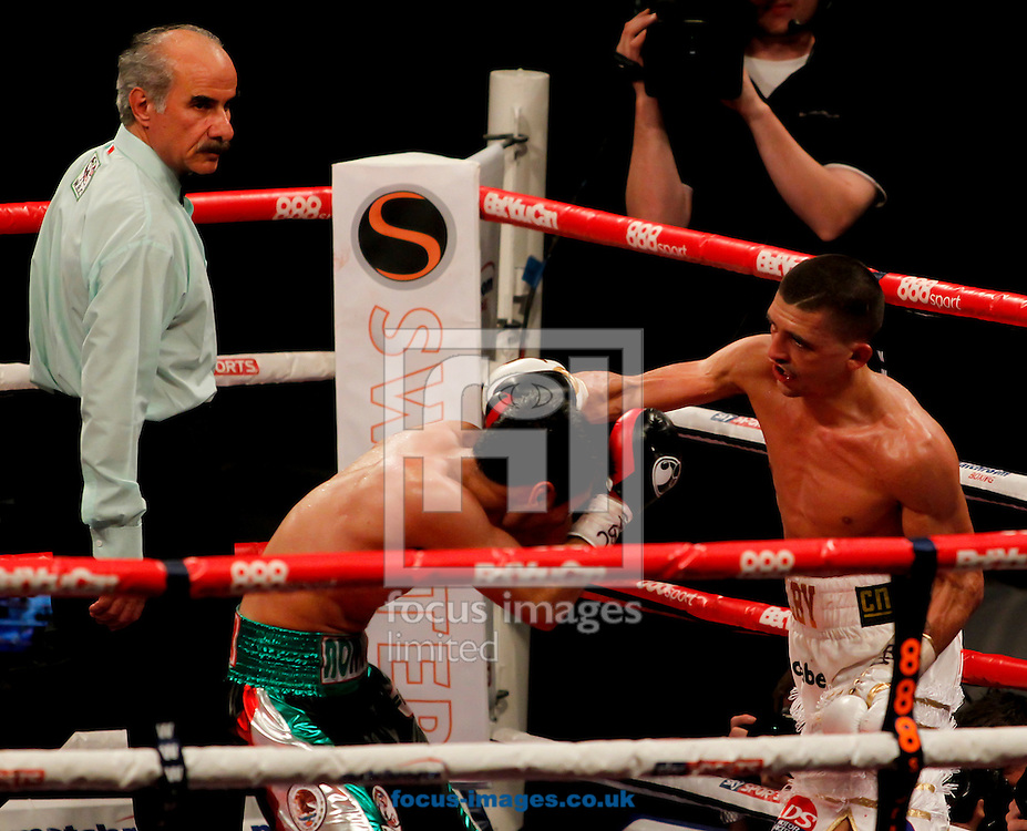 Lee Selby (White Shorts) v Romulu Koasicha (Black/White Shorts) during their bout for the WBC International Featherweight title &amp; Eliminator for WBC Featherweight title at Motorpoint Arena, Cardiff<br /> Picture by Mike  Griffiths/Focus Images Ltd +44 7766 223933<br /> 17/05/2014