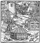 Various forms of siege equipment, including battering rams. Woodcut from Gaultherius Rivius 'Architectur ... Mathematischen ... Kunst' 1547.