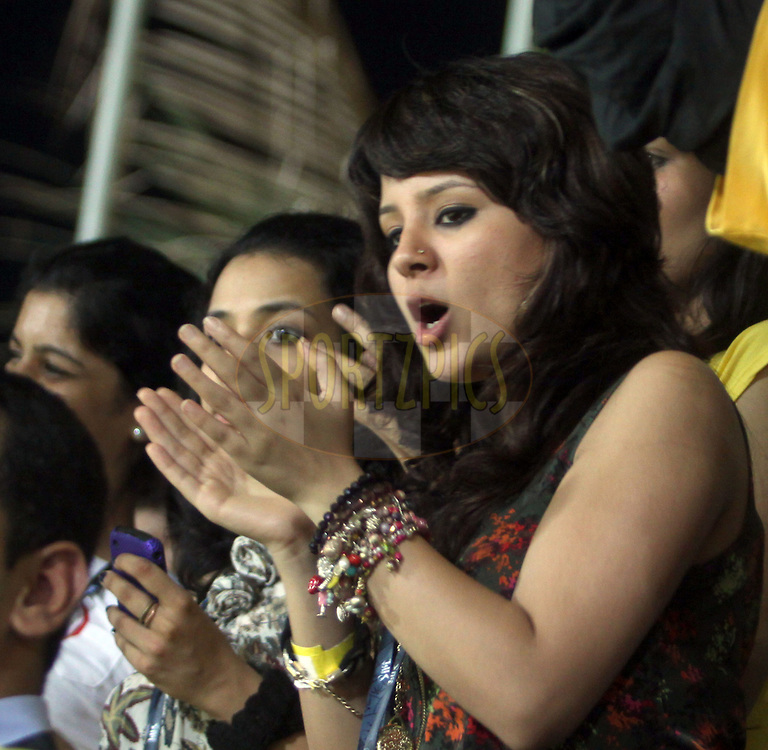 Dhoni's Wife Sakshi during match 25 of the the Indian Premier League ( IPL ) Season 4 between the Mumbai Indians and the Chennai Superkings held at the Wankhede Stadium, Mumbai, India on the 22nd April 2011..Photo by Sandeep Shetty/BCCI/SPORTZPICS.