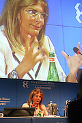 Emma Marcegaglia, President of Confindustria (emploiers association), speaks at Ambrosetti Workshop in Cernobbio, September 4, 2011. © Carlo Cerchioli