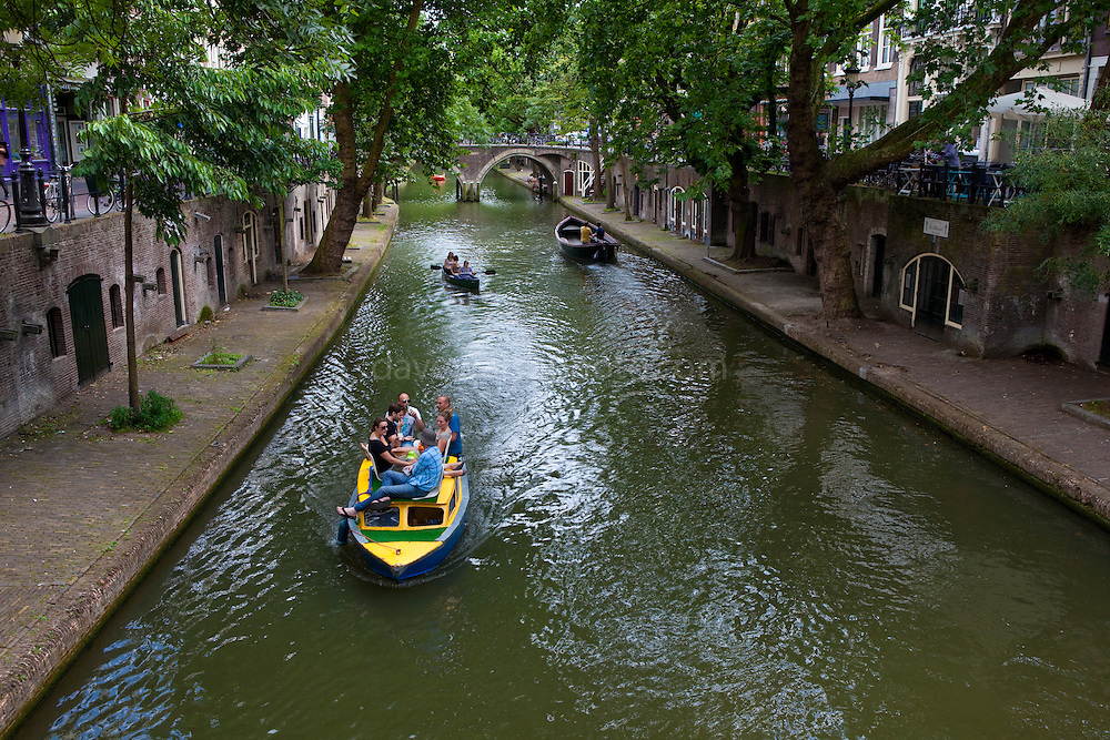 Boating on the  Catharijnesingel canal, Utrecht, Netherlands