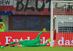 VIENNA, AUSTRIA - Thursday, October 6, 2016: Wales' goalkeeper Wayne Hennessey is beaten as Austria's Marko Arnautovic scores the second equalising goal during the 2018 FIFA World Cup Qualifying Group D match at the Ernst-Happel-Stadion. (Pic by David Rawcliffe/Propaganda)
