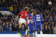 Marouane Fellaini Midfielder of Manchester United battles with a header with Chelsea's David Luiz during the The FA Cup quarter-final match between Chelsea and Manchester United at Stamford Bridge, London, England on 13 March 2017. Photo by Phil Duncan.