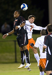 Virginia Cavaliers midfielder/forward Neil Barlow (7) battles with Maryland Terrapins forward Jeremy Hall (17) for a header.  The Virginia Cavaliers fell to the Maryland Terrapins 2-1 in NCAA Soccer at Klockner Stadium on the Grounds of the University of Virginia in Charlottesville, VA on October 31, 2008.