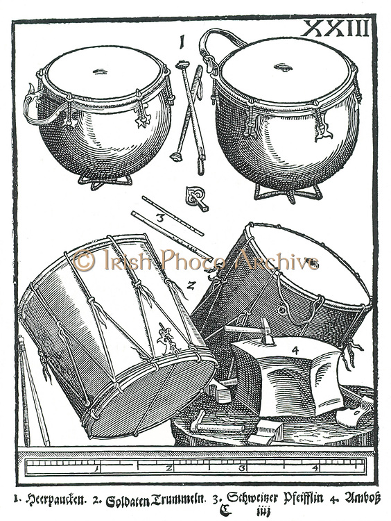 Perucssion Instruments. 1: Military drums, 2: Side drums, 3: Swiss pipes, 4: Anvil. Woodcut from Michael Praetorius 'Syntagma Musicum', 1615-1620.