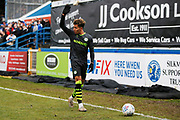 Odin Bailey takes a corner during the EFL Sky Bet League 2 match between Macclesfield Town and Forest Green Rovers at Moss Rose, Macclesfield, United Kingdom on 25 January 2020.