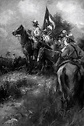 Spanish-American-Cuban War 1898:  Cuban struggle for Independence. 'A well-directed volley at this time might have rid Spain of the fiery old guerilla'.  Mounted Cuban soldiers. Illustration for 'Cascorra', 1910, by Frederick Funston .