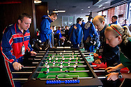 Referees and athletes play table-soccer during the 2013 Special Olympics European Unified Football Tournament in Warsaw, Poland.<br /> <br /> Poland, Warsaw, June 06, 2012<br /> <br /> Picture also available in RAW (NEF) or TIFF format on special request.<br /> <br /> For editorial use only. Any commercial or promotional use requires permission.<br /> <br /> <br /> Mandatory credit:<br /> Photo by © Adam Nurkiewicz / Mediasport