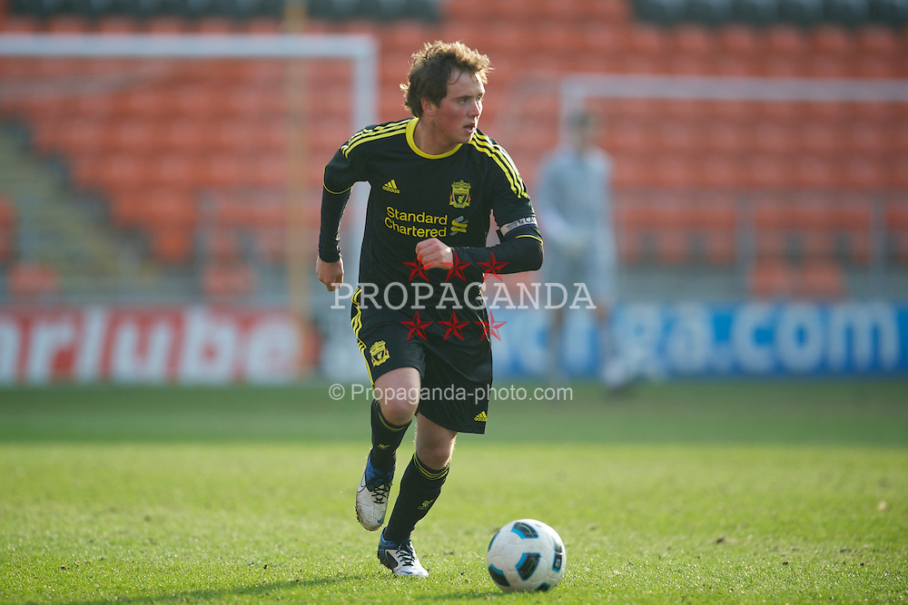 BLACKPOOL, ENGLAND - Wednesday, March 3, 2011: Liverpool's Steven Irwin in action against Blackpool during the FA Premiership Reserves League (Northern Division) match at Bloomfield Road. (Photo by David Rawcliffe/Propaganda)