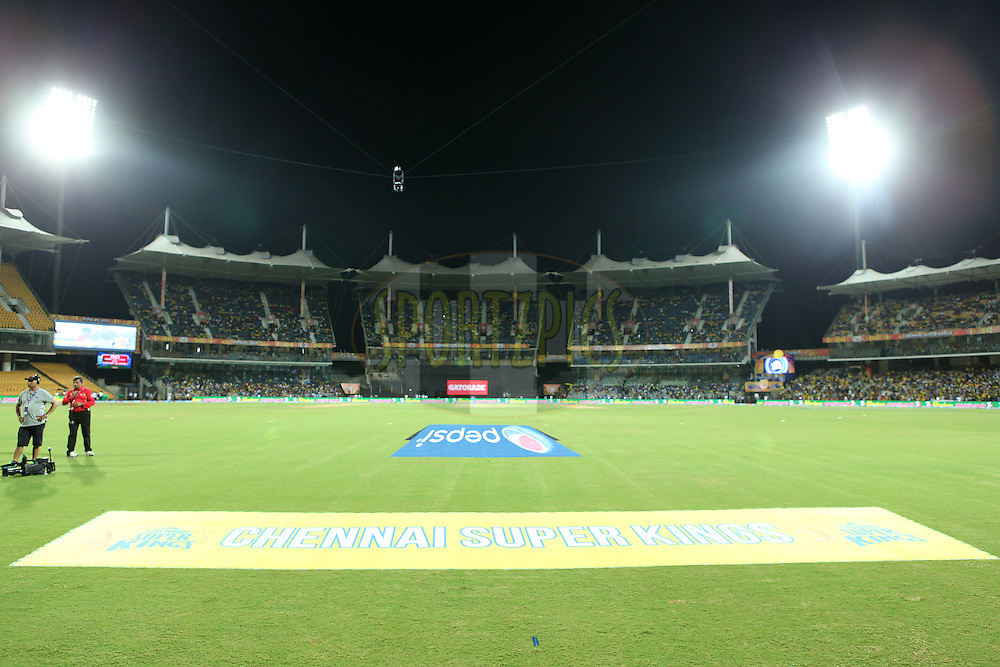 Branding gv during match 2 of the Pepsi IPL 2015 (Indian Premier League) between The Chennai Superkings and The Delhi Daredevils held at the M. A. Chidambaram Stadium, Chennai Stadium in Chennai, India on the 9th April 2015.<br /> <br /> Photo by:  Saikat Das / SPORTZPICS / IPL