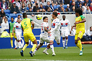 Aouar Houssem of Lyon and Depay Memphis of Lyon and Djidji Lévy of Nantes during the French Championship Ligue 1 football match between Olympique Lyonnais and FC Nantes on April 28, 2018 at Groupama Stadium in Décines-Charpieu near Lyon, France - Photo Romain Biard / Isports / ProSportsImages / DPPI