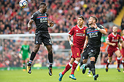#9 Roberto Firmino, Crystal Palace #2 Joel Ward, Crystal Palace #24 Timothy Fosu-Mensah during the Premier League match between Liverpool and Crystal Palace at Anfield, Liverpool, England on 19 August 2017. Photo by Sebastian Frej.