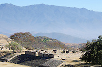 Looking down at the Palace from the South Platform of Monte Alban, a ruined Zapotec city in Oaxaca, Mexico.