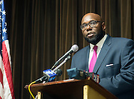Assemblymen Troy Singleton, D-7th of Palmyra speaks during an interfaith prayer service at Our Lady of Perpetual Health Thursday, March 2, 2017 in Maple Shade, New Jersey. (Photo by William Thomas Cain)