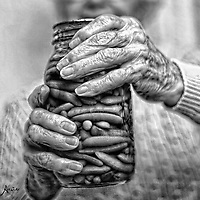 my grandmother's hands wrapped around a canned jar of her garden beans