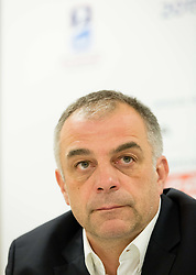 Matjaz Kopitar, head coach Slovenia during press conference after the Ice Hockey match between Slovenia and Norway at Day 8 in Group B of 2015 IIHF World Championship, on May 8, 2015 in CEZ Arena, Ostrava, Czech Republic. Photo by Vid Ponikvar / Sportida