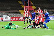 Troy Brown (39) of Exeter City has hs shot saved by Ben Garratt only for it to fall for Jordan Tillson (6) of Exeter City who scored the opening goal to give a 1-0 lead to Exeter during the EFL Sky Bet League 2 match between Exeter City and Crewe Alexandra at St James' Park, Exeter, England on 16 September 2017. Photo by Graham Hunt.