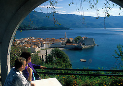 Montenegrin Coast:  A view of Budva from the bluffs north of town.  Founded in the 5th Century BC, Budva's old town contains a 7th century church as well as significant Venetian architecture.