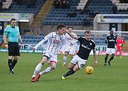 3rd February 2018, Dens Park, Dundee, Scotland; Scottish Premier League football, Dundee versus Ross County; Mattias Kait of Ross County and Paul McGowan of Dundee