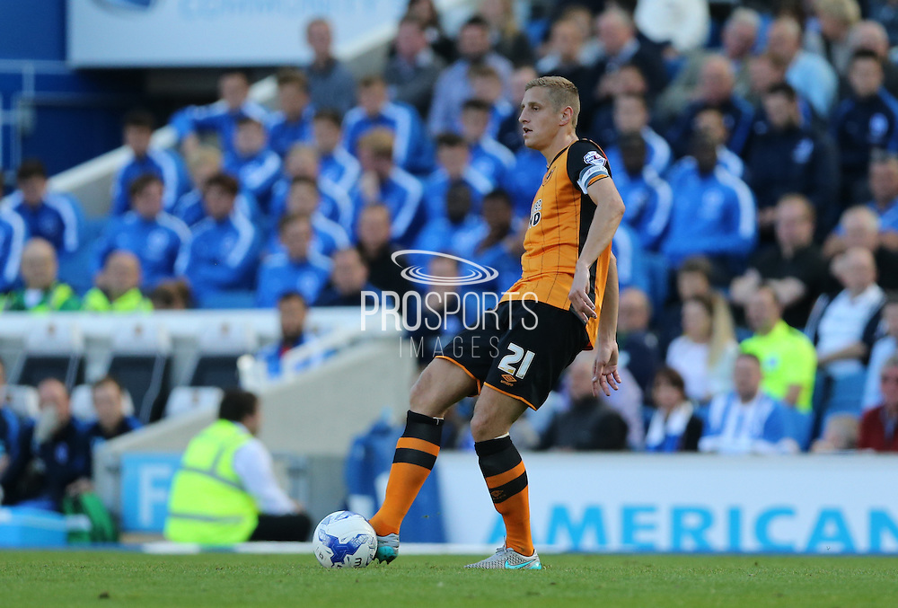 Hull City defender Michael Dawson the Sky Bet Championship match between Brighton and Hove Albion and Hull City at the American Express Community Stadium, Brighton and Hove, England on 12 September 2015.