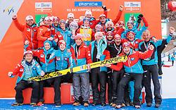 26.03.2017, Planica, Ratece, SLO, FIS Weltcup Ski Sprung, Planica, Siegerehrung, im Bild Gesamtweltcup- und Skiflug Weltcup Sieger Stefan Kraft (AUT) jubelt mit Team // Overall World Cup and Ski Flying World Cup winner Stefan Kraft of Austria celebrate with the Austrian Skijumping Team during the Winner Award Ceremony of the FIS Ski Jumping World Cup Final 2017 at Planica in Ratece, Slovenia on 2017/03/26. EXPA Pictures © 2017, PhotoCredit: EXPA/ JFK