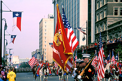 Stock photo of a holiday parade travelling through downtown Houston Texas