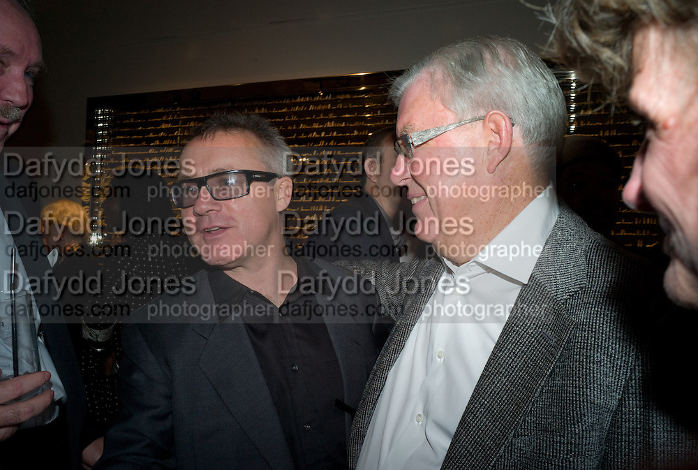DAMIEN HIRST; FRANK DUNPHY, Damien Hirst party to preview his exhibition at Sotheby's. New Bond St. London. 12 September 2008 *** Local Caption *** -DO NOT ARCHIVE-© Copyright Photograph by Dafydd Jones. 248 Clapham Rd. London SW9 0PZ. Tel 0207 820 0771. www.dafjones.com.