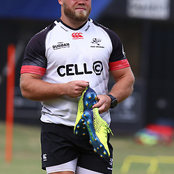 DURBAN, SOUTH AFRICA - JANUARY 23: Akker van der Merwe during the Cell C Sharks training session at Growthpoint Kings Park on January 23, 2018 in Durban, South Africa. (Photo by Steve Haag/Gallo Images)