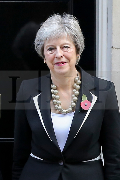 © Licensed to London News Pictures. 25/010/2018. London, UK. Prime Minister Theresa May with a poppy on her jacket during the launch of the National Poppy Appeal 2018 outside 10 Downing Street. Photo credit: Dinendra Haria/LNP