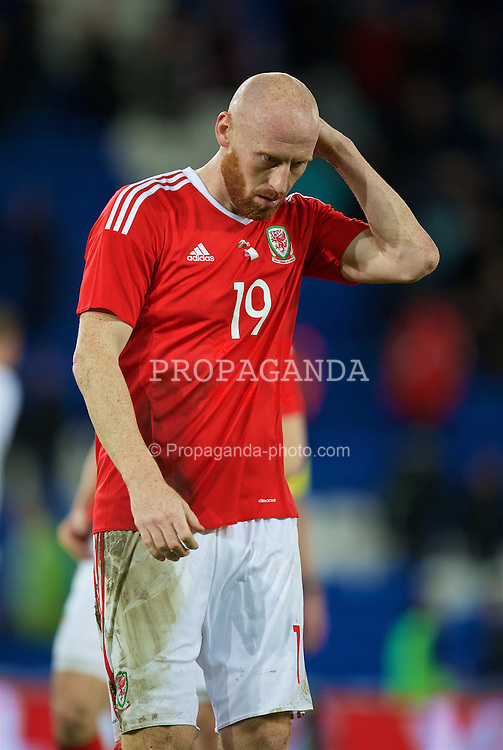 CARDIFF, WALES - Friday, November 13, 2015: Wales' James Collins looks dejected after the 3-2 defeat to the Netherlands during the International Friendly match at the Cardiff City Stadium. (Pic by David Rawcliffe/Propaganda)