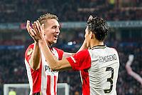 EINDHOVEN - PSV - SC Genemuiden , Voetbal , KNVB Beker , Seizoen 2015/2016 , Philips stadion , 25-10-2015 , PSV speler Hector Moreno (r) viert zijn doelpunt met PSV speler Luuk de Jong (l)