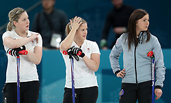 Great Britain's (left-right) Lauren Gray, Vicki Adams and skipper Eve Muirhead appear dejected after defeat during the Women's Semi-Final against Sweden at the Gangneung Curling Centre during day fourteen of the PyeongChang 2018 Winter Olympic Games in South Korea.
