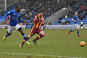 \bc14\ and Oldham Athletic and new loanee Signing, Moimbe Pens (3) during the EFL Sky Bet League 1 match between Oldham Athletic and Bradford City at Boundary Park, Oldham, England on 3 February 2018. Picture by Mark Pollitt.