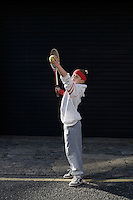 Boy with tennis rocket