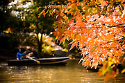 Boating on the rowboat lake in Central Park in autumn in New York City.