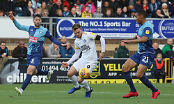 Matt Godden of Peterborough United in action with Joe Jacobson and Darius Charles of Wycombe Wanderers - Mandatory by-line: Joe Dent/JMP - 03/11/2018 - FOOTBALL - Adam's Park - High Wycombe, England - Wycombe Wanderers v Peterborough United - Sky Bet League One