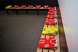 MERTHYR, WALES - Thursday, February 16, 2017: The Wales shirts laid out in the home dressing room ahead of the Women's Under-17's International Friendly match against Hungary at Penydarren Park. (Pic by Laura Malkin/Propaganda)