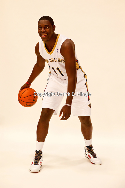 Sep 30, 2013; Metairie, LA, USA; New Orleans Pelicans point guard Jrue Holiday (11) poses for a portrait at Pelicans Practice Facility. Mandatory Credit: Derick E. Hingle-USA TODAY Sports