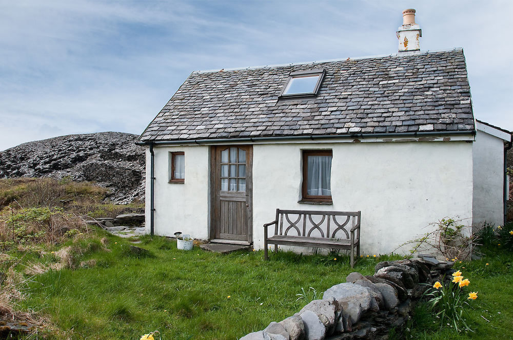 Cottage with slate roof on Easdale Island, Scotland