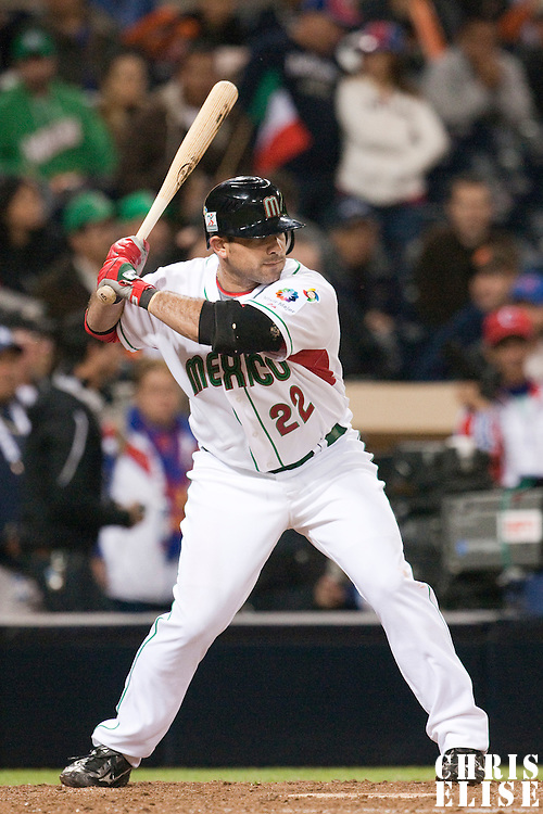 16 March 2009: #22 Christian Presichi of Mexico is seen at bat during the 2009 World Baseball Classic Pool 1 game 3 at Petco Park in San Diego, California, USA. Cuba wins 7-4 over Mexico.